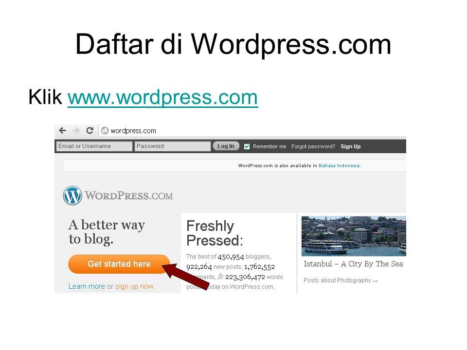 Daftar di Wordpress.com