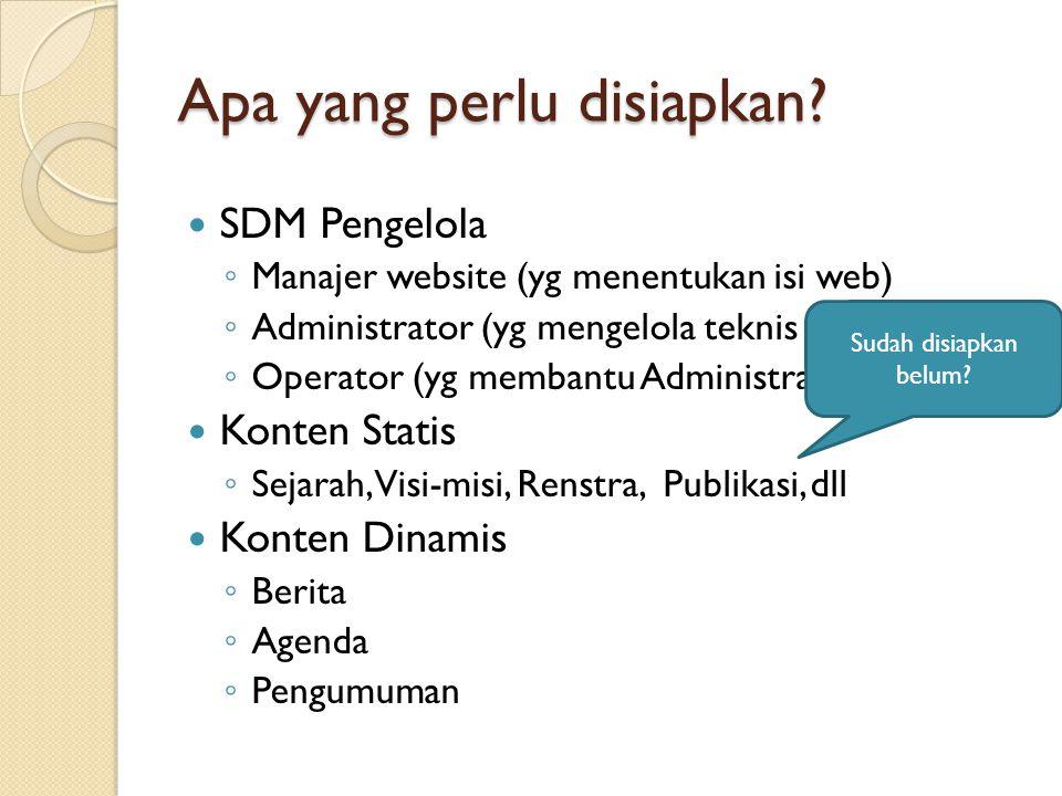 Apa yang perlu disiapkan?  SDM Pengelola ◦ Manajer website (yg menentukan isi web) ◦ Administrator (yg mengelola teknis webnya) ◦ Operator (yg memban