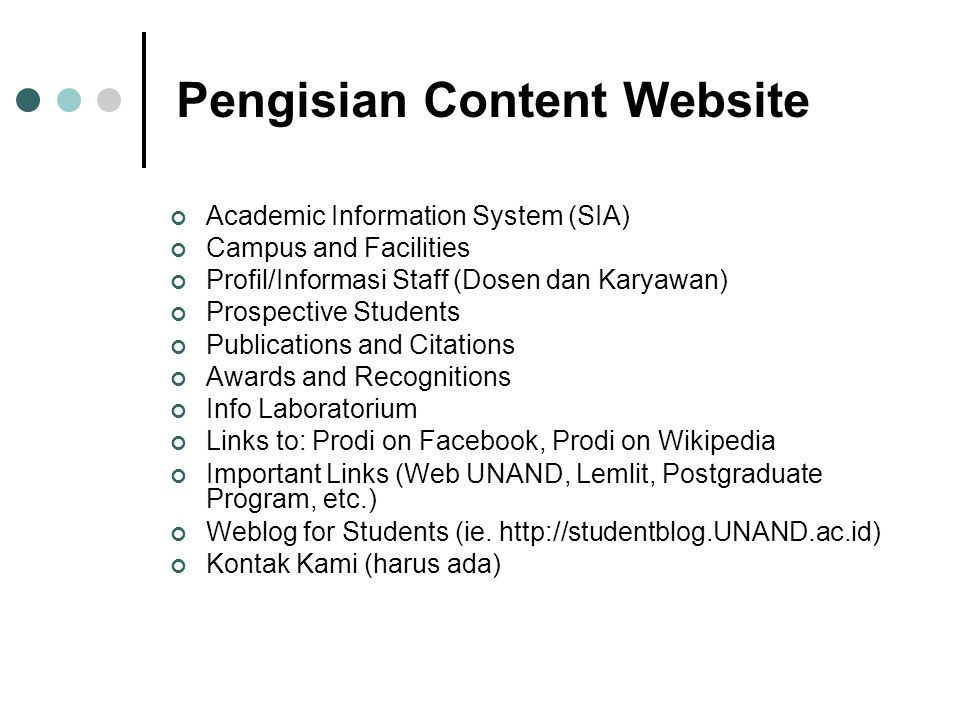 Academic Information System (SIA)‏ Campus and Facilities Profil/Informasi Staff (Dosen dan Karyawan)‏ Prospective Students Publications and Citations