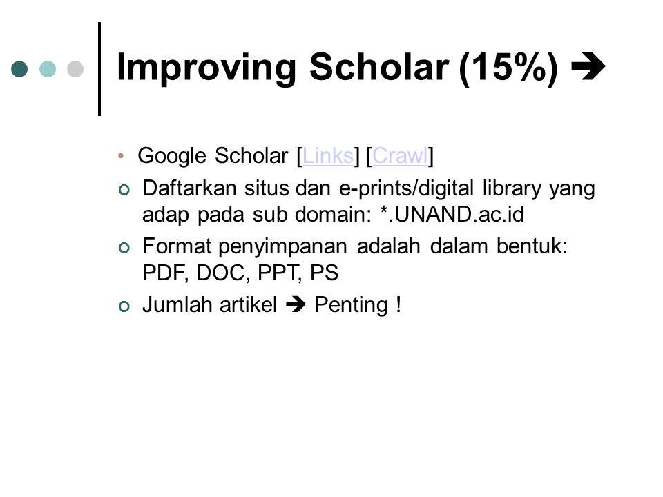 Improving Scholar (15%)  • Google Scholar [Links] [Crawl]LinksCrawl Daftarkan situs dan e-prints/digital library yang adap pada sub domain: *.UNAND.ac.id Format penyimpanan adalah dalam bentuk: PDF, DOC, PPT, PS Jumlah artikel  Penting !