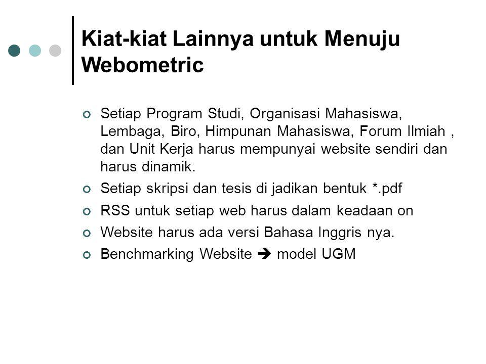 Kiat-kiat Lainnya untuk Menuju Webometric Setiap Program Studi, Organisasi Mahasiswa, Lembaga, Biro, Himpunan Mahasiswa, Forum Ilmiah, dan Unit Kerja