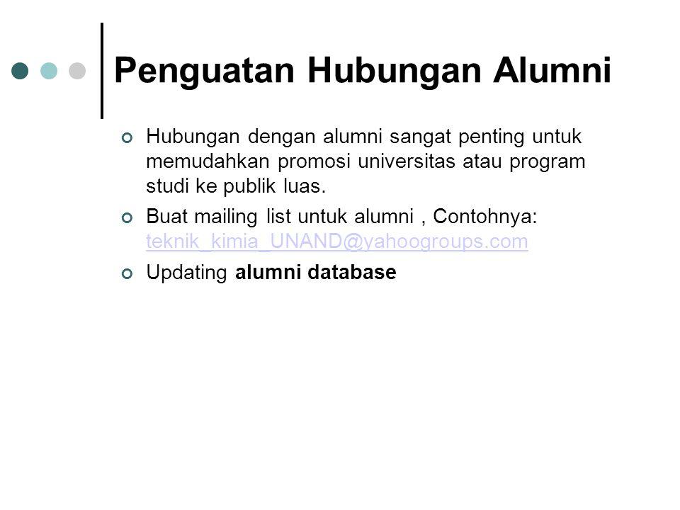 Penguatan Hubungan Alumni Hubungan dengan alumni sangat penting untuk memudahkan promosi universitas atau program studi ke publik luas.