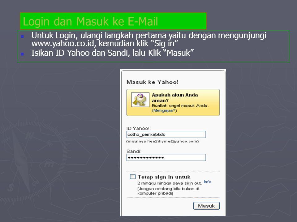 "Login dan Masuk ke E-Mail  Untuk Login, ulangi langkah pertama yaitu dengan mengunjungi www.yahoo.co.id, kemudian klik ""Sig in""  Isikan ID Yahoo dan"