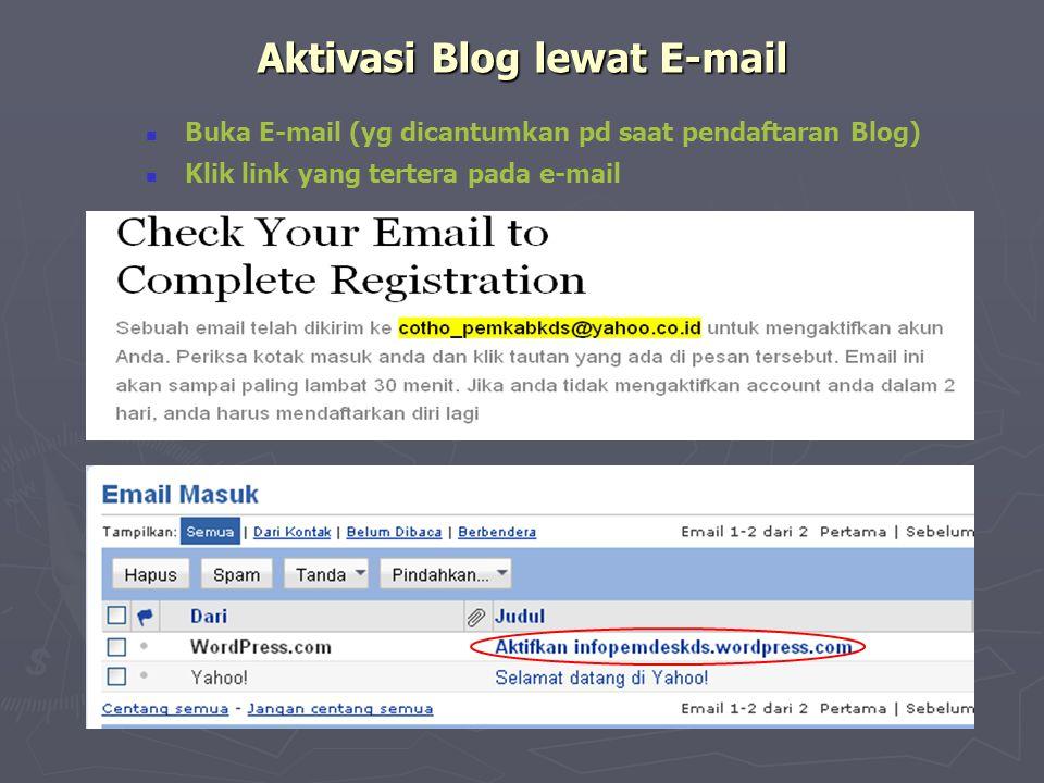 Aktivasi Blog lewat E-mail  Buka E-mail (yg dicantumkan pd saat pendaftaran Blog)  Klik link yang tertera pada e-mail
