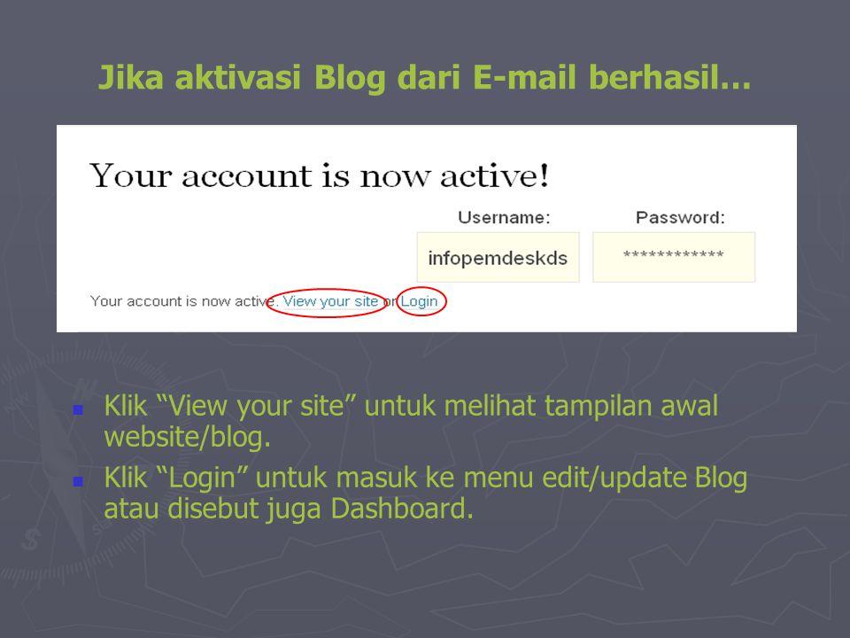 """Jika aktivasi Blog dari E-mail berhasil…  Klik """"View your site"""" untuk melihat tampilan awal website/blog.  Klik """"Login"""" untuk masuk ke menu edit/upd"""