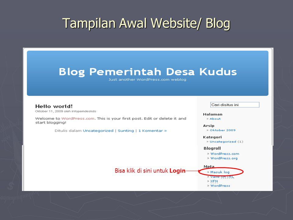 Tampilan Awal Website/ Blog Bisa klik di sini untuk Login