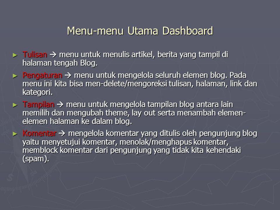 Menu-menu Utama Dashboard ► Tulisan  menu untuk menulis artikel, berita yang tampil di halaman tengah Blog. ► Pengaturan  menu untuk mengelola selur