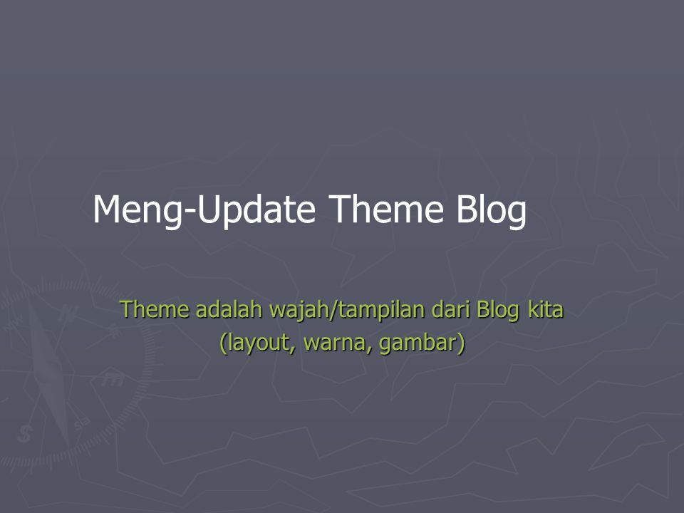 Meng-Update Theme Blog Theme adalah wajah/tampilan dari Blog kita (layout, warna, gambar)