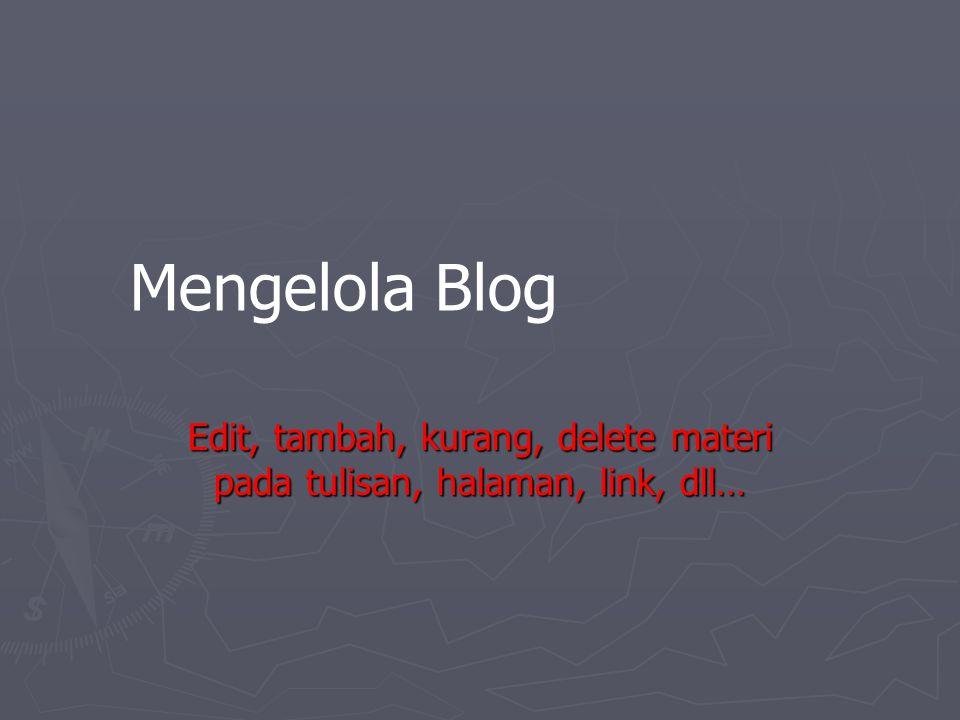 Mengelola Blog Edit, tambah, kurang, delete materi pada tulisan, halaman, link, dll…