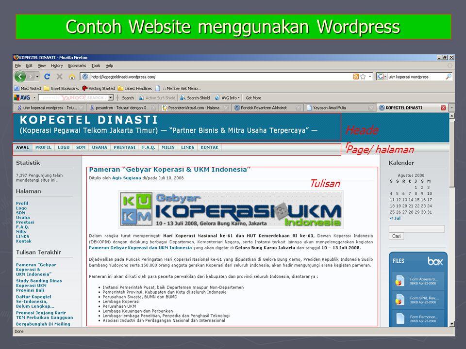 Contoh Website menggunakan Wordpress Heade r Page/ halaman Tulisan