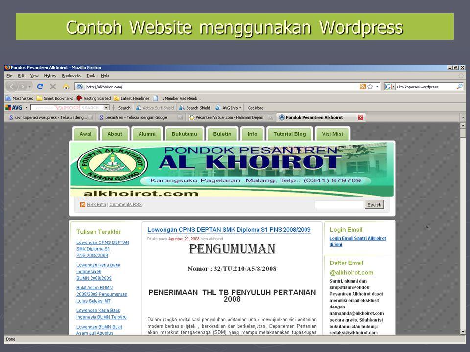  Kunjungi www.wordpress.comwww.wordpress.com  Pilih Language : Bahasa Indonesia  Lalu Klik Daftar Sekarang