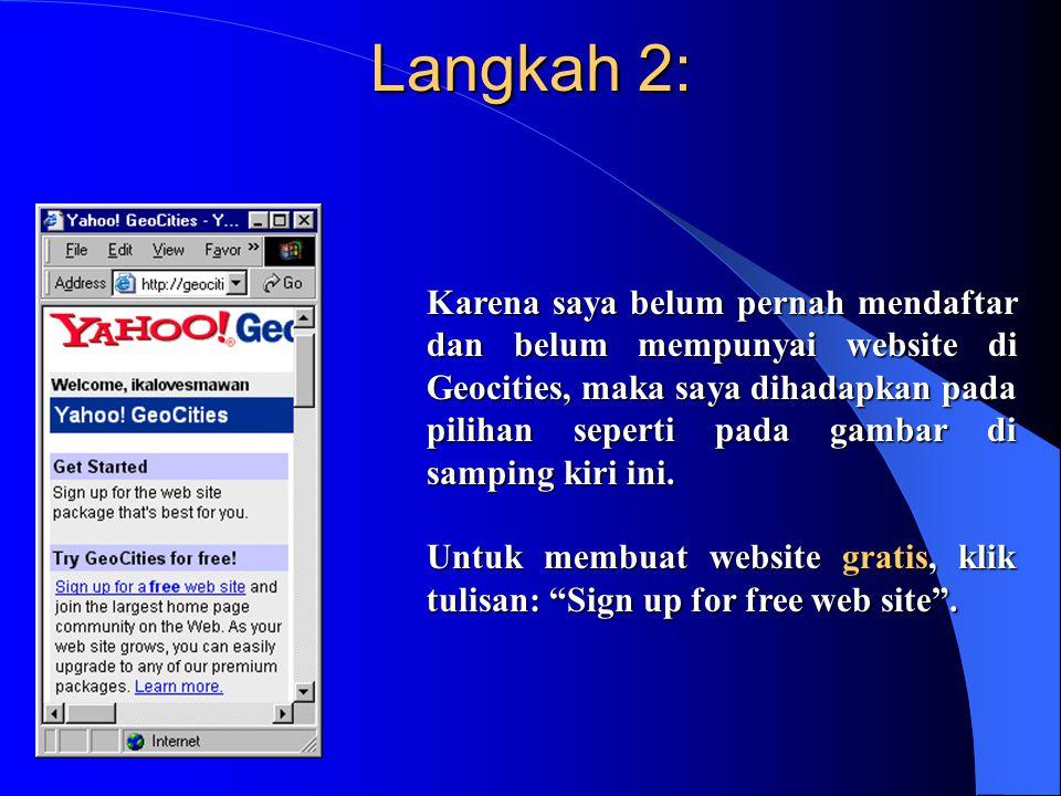 Langkah 3: Karena gratis, Geocities berhak memunculkan iklan di setiap halaman web yang kita buat.