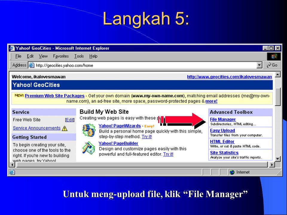 Langkah 5: Untuk meng-upload file, klik File Manager