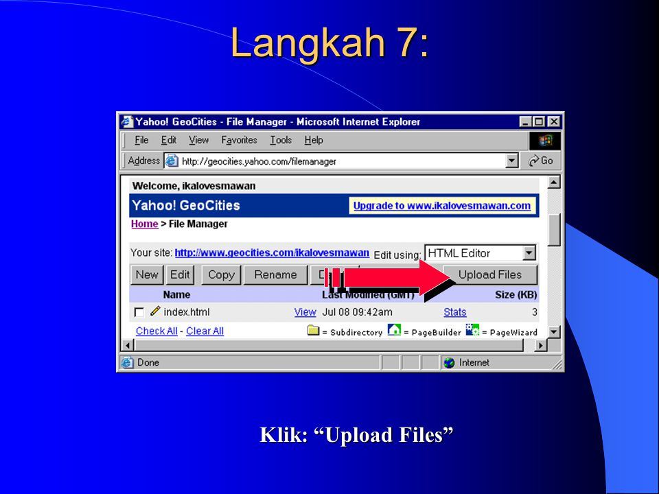 "Langkah 7: Klik: ""Upload Files"""