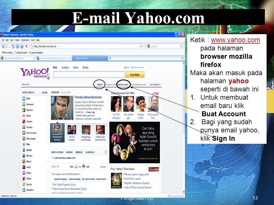 LOGO Pengenalan TIK13 E-mail Yahoo.com browser mozilla firefox Ketik : www.yahoo.com pada halaman browser mozilla firefoxwww.yahoo.com yahoo Maka akan