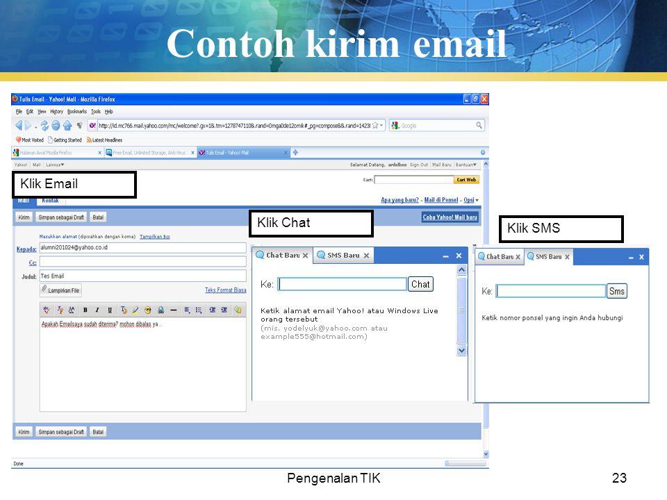 Pengenalan TIK23 Contoh kirim email Klik Email Klik Chat Klik SMS