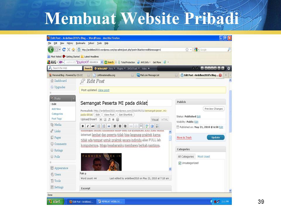 Pengenalan TIK39 Membuat Website Pribadi