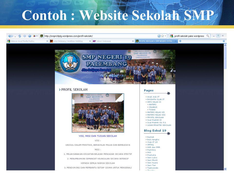 Pengenalan TIK47 Contoh : Website Sekolah SMP