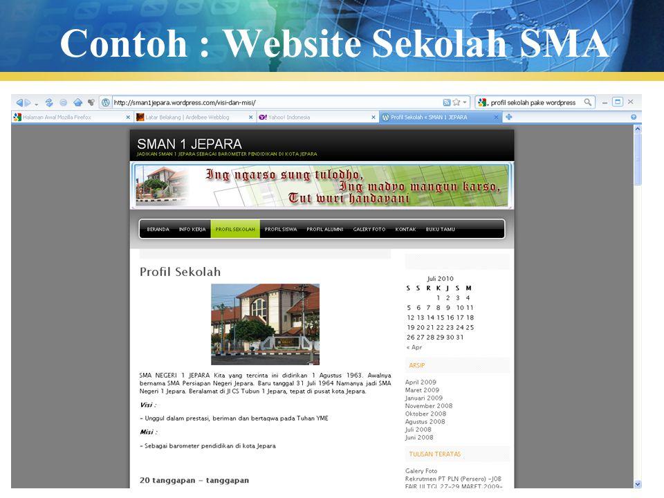Pengenalan TIK48 Contoh : Website Sekolah SMA
