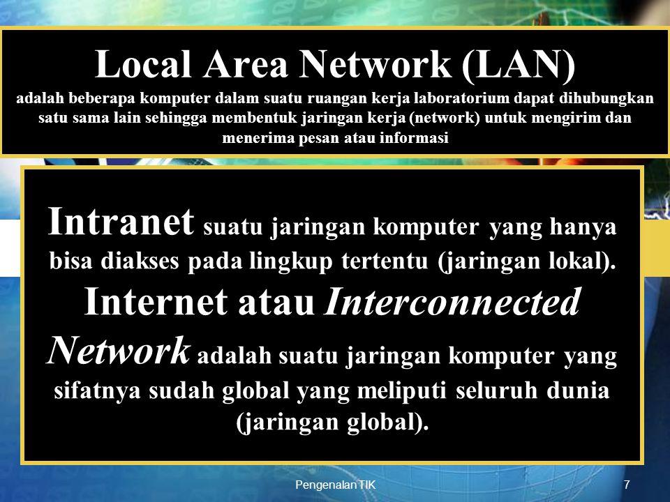 LOGO Pengenalan TIK7 Local Area Network (LAN) adalah beberapa komputer dalam suatu ruangan kerja laboratorium dapat dihubungkan satu sama lain sehingg