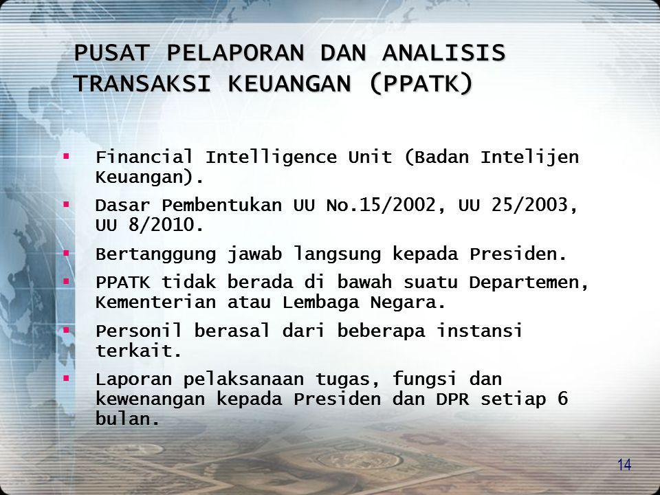 14  Financial Intelligence Unit (Badan Intelijen Keuangan).  Dasar Pembentukan UU No.15/2002, UU 25/2003, UU 8/2010.  Bertanggung jawab langsung ke