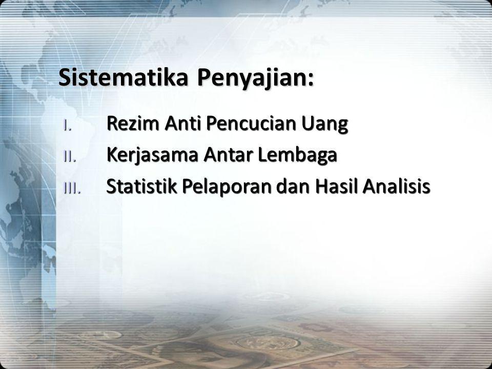 Sistematika Penyajian: I. Rezim Anti Pencucian Uang II. Kerjasama Antar Lembaga III. Statistik Pelaporan dan Hasil Analisis