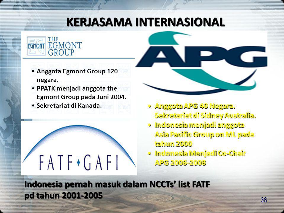 36 KERJASAMA INTERNASIONAL •Anggota Egmont Group 120 negara. •PPATK menjadi anggota the Egmont Group pada Juni 2004. •Sekretariat di Kanada. Indonesia