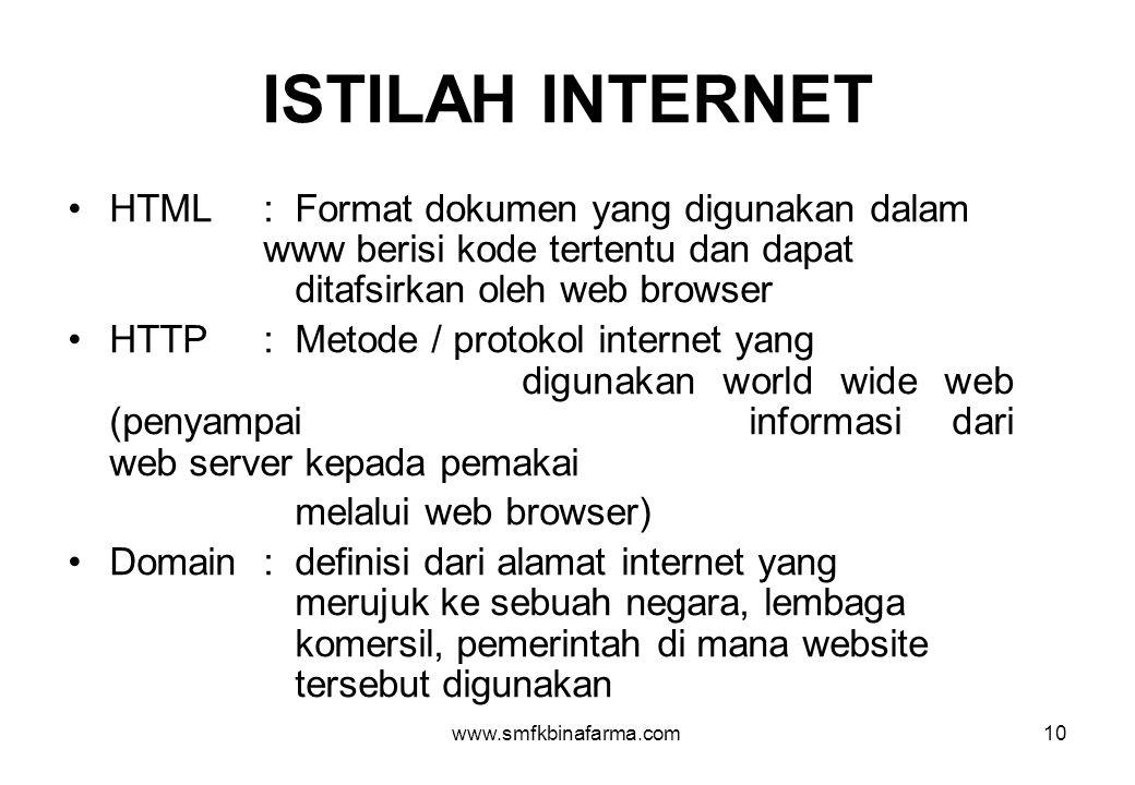 www.smfkbinafarma.com10 ISTILAH INTERNET •HTML :Format dokumen yang digunakan dalam www berisi kode tertentu dan dapat ditafsirkan oleh web browser •H