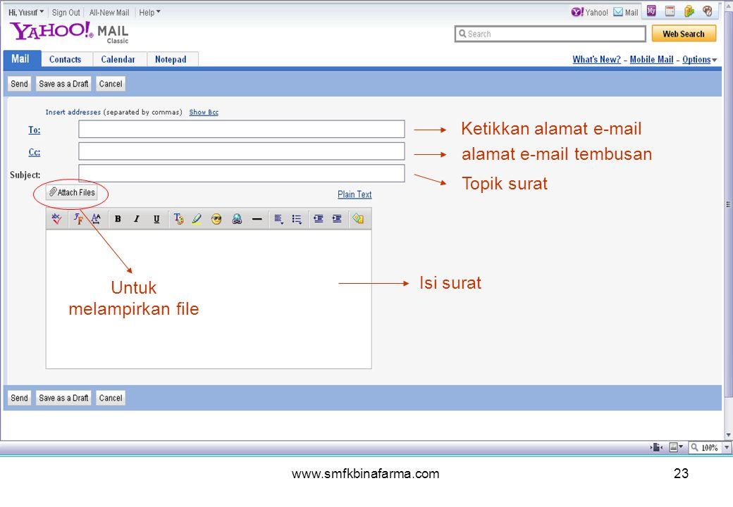 www.smfkbinafarma.com23 Ketikkan alamat e-mail alamat e-mail tembusan Topik surat Isi surat Untuk melampirkan file