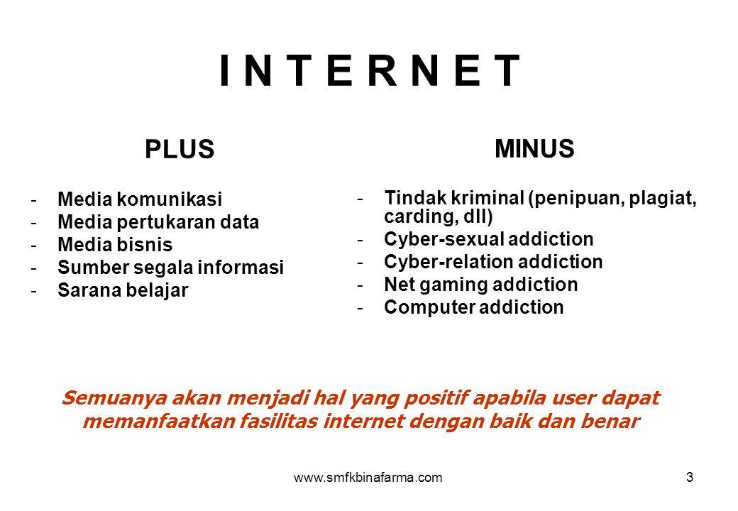 www.smfkbinafarma.com3 I N T E R N E T PLUS -Media komunikasi -Media pertukaran data -Media bisnis -Sumber segala informasi -Sarana belajar MINUS -Tin
