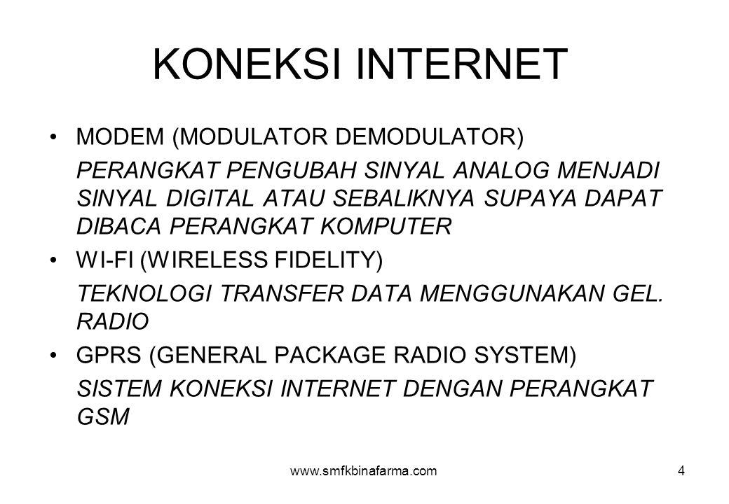www.smfkbinafarma.com4 KONEKSI INTERNET •MODEM (MODULATOR DEMODULATOR) PERANGKAT PENGUBAH SINYAL ANALOG MENJADI SINYAL DIGITAL ATAU SEBALIKNYA SUPAYA