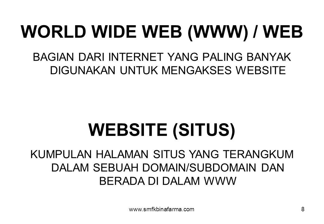 www.smfkbinafarma.com8 WORLD WIDE WEB (WWW) / WEB BAGIAN DARI INTERNET YANG PALING BANYAK DIGUNAKAN UNTUK MENGAKSES WEBSITE WEBSITE (SITUS) KUMPULAN HALAMAN SITUS YANG TERANGKUM DALAM SEBUAH DOMAIN/SUBDOMAIN DAN BERADA DI DALAM WWW