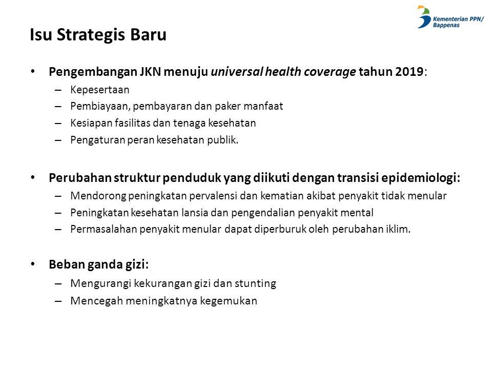 Isu Strategis Baru • Pengembangan JKN menuju universal health coverage tahun 2019: – Kepesertaan – Pembiayaan, pembayaran dan paker manfaat – Kesiapan