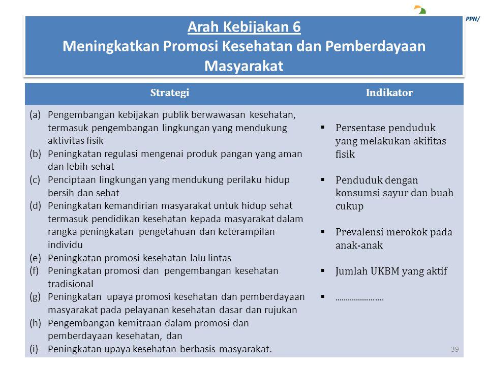 StrategiIndikator (a)Pengembangan kebijakan publik berwawasan kesehatan, termasuk pengembangan lingkungan yang mendukung aktivitas fisik (b)Peningkata