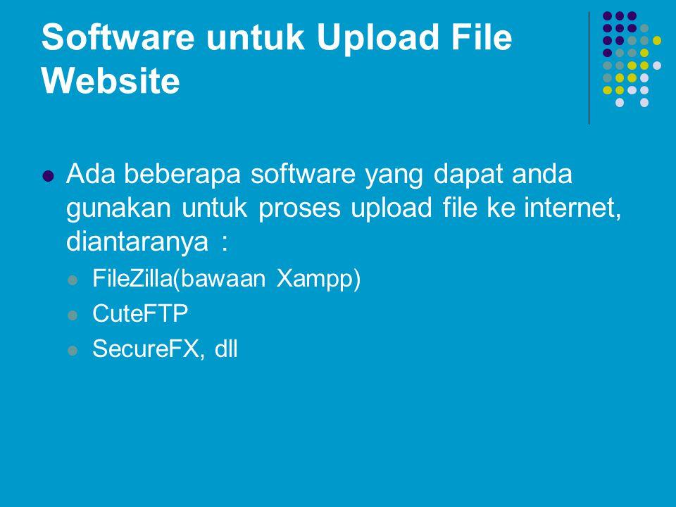 Software untuk Upload File Website  Ada beberapa software yang dapat anda gunakan untuk proses upload file ke internet, diantaranya :  FileZilla(baw