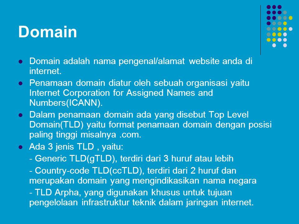 Generic TLD(gTLD) TLDTahun DibuatPenggunaan Domain.com1995Tidak ada batasan, umumnya dipakai untuk tujuan komersial.edu1995Digunakan untuk istitusi edukasi oleh negara Amerika Serikat.gov1995Digunakan untuk domain pemerintah Amerika Serikat.mil1995Digunakan untuk militer Amerika Serikat.net1995Tidak ada batasan, namun umumnya digunakan untuk provider jaringan, penyedia jasa layanan internet, dll.org1995Tidak ada batasan, tapi umumnya digunakan untuk organisasi- organisasi.int1998Digunakan untuk organisasi yang sifatnya internarsional.aero2001Digunakan untuk perusahaan transportasi udara.biz2001Digunakan untuk tujuan bisnis.coop2001Digunakan untuk domain badan-badan koperasi.info2001Tidak ada batasan penggunaan.museum2001Digunakan untuk domain Museum.name2001Digunakan untuk nama individu.pro2002Digunakan untuk kalangan profesional, seperti akuntan, lawyer, dll