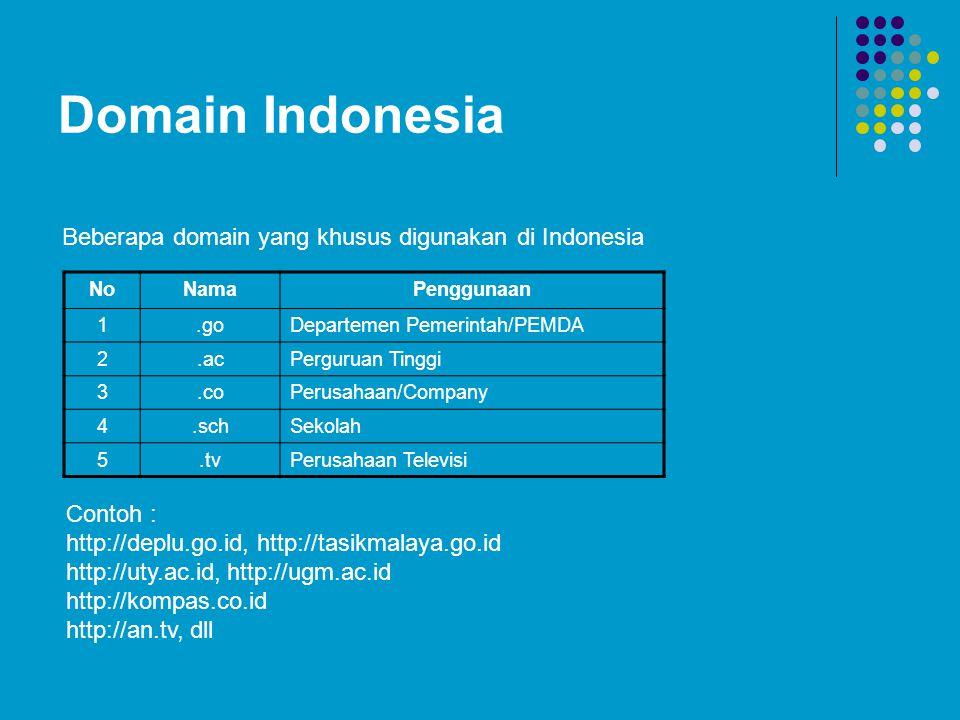 Domain Indonesia NoNamaPenggunaan 1.goDepartemen Pemerintah/PEMDA 2.acPerguruan Tinggi 3.coPerusahaan/Company 4.schSekolah 5.tvPerusahaan Televisi Beberapa domain yang khusus digunakan di Indonesia Contoh : http://deplu.go.id, http://tasikmalaya.go.id http://uty.ac.id, http://ugm.ac.id http://kompas.co.id http://an.tv, dll
