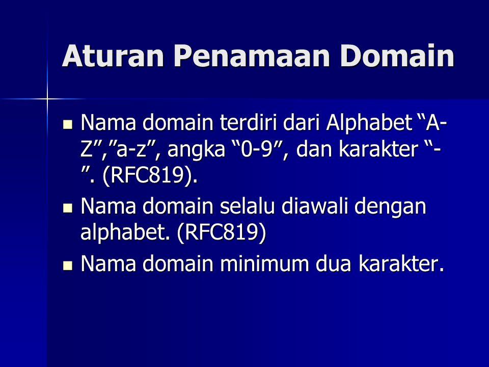 "Aturan Penamaan Domain  Nama domain terdiri dari Alphabet ""A- Z"",""a-z"", angka ""0-9″, dan karakter ""- "". (RFC819).  Nama domain selalu diawali dengan"