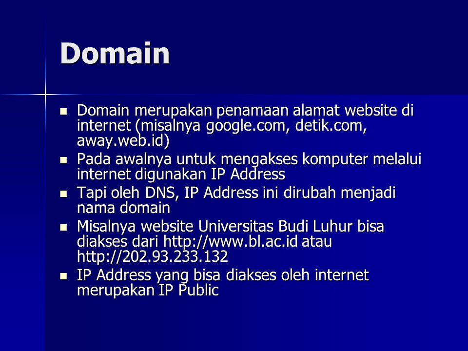 Global Top Level Domain .com -> perusahaan .net -> ISP .info -> informasi .org -> organisasi .bis -> bisnis .mil -> militer .gov -> pemerintahan