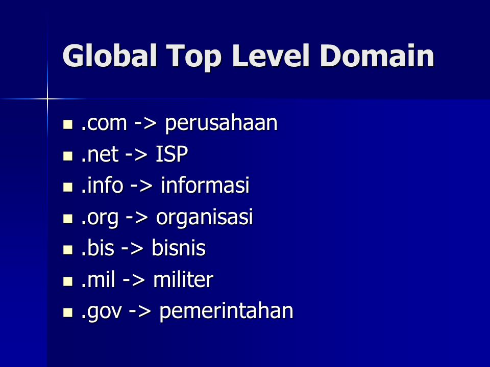 Second Level Domain.id .ac.id -> akademik .co.id -> perusahaan .net.id -> ISP, telekomunikasi .web.id -> personal .sch.id -> sekolah .or.id -> organisasi .mil.id -> militer .go.id -> pemerintahan