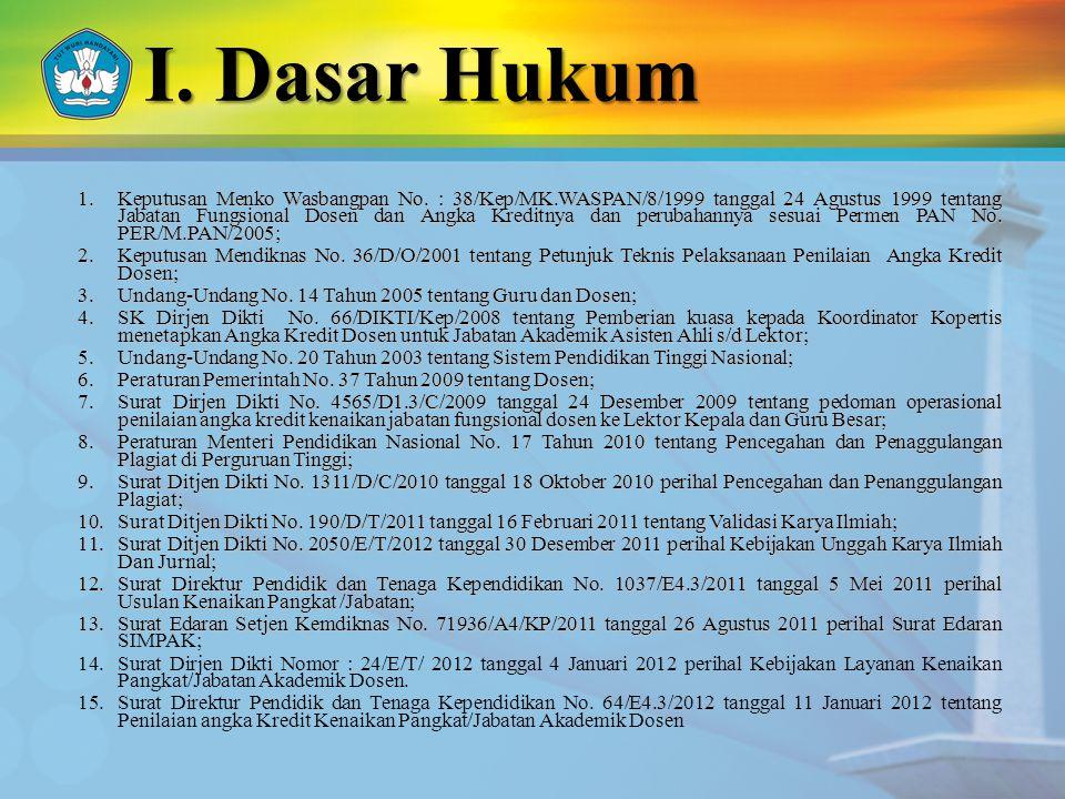I. Dasar Hukum 1.Keputusan Menko Wasbangpan No. : 38/Kep/MK.WASPAN/8/1999 tanggal 24 Agustus 1999 tentang Jabatan Fungsional Dosen dan Angka Kreditnya