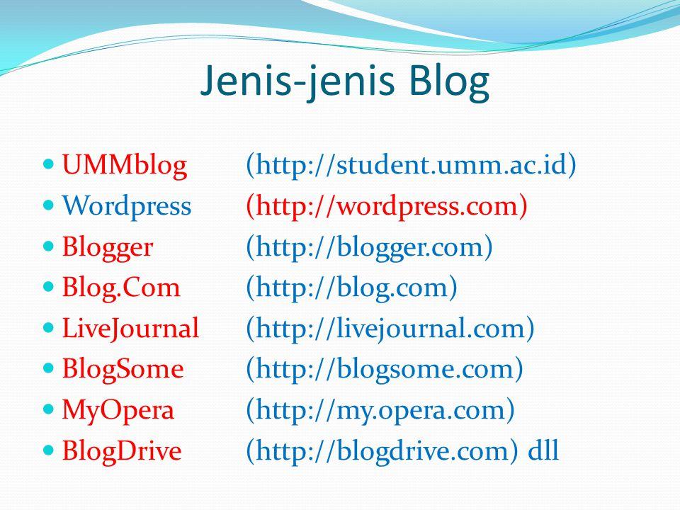 Jenis-jenis Blog  UMMblog(http://student.umm.ac.id)  Wordpress (http://wordpress.com)  Blogger (http://blogger.com)  Blog.Com (http://blog.com)  LiveJournal (http://livejournal.com)  BlogSome (http://blogsome.com)  MyOpera (http://my.opera.com)  BlogDrive (http://blogdrive.com) dll