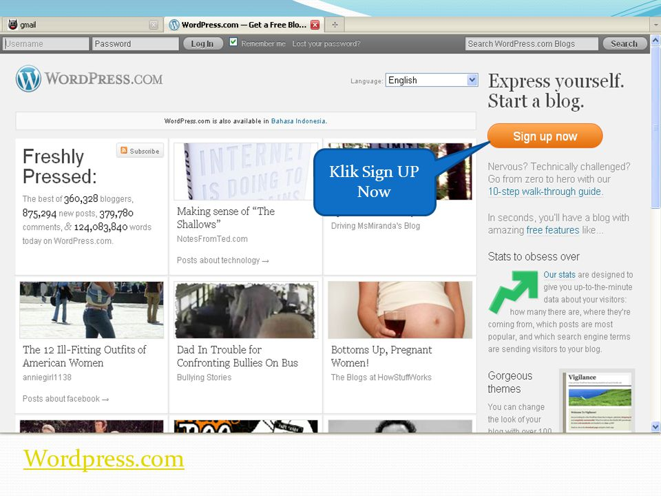 Wordpress.com Klik Sign UP Now
