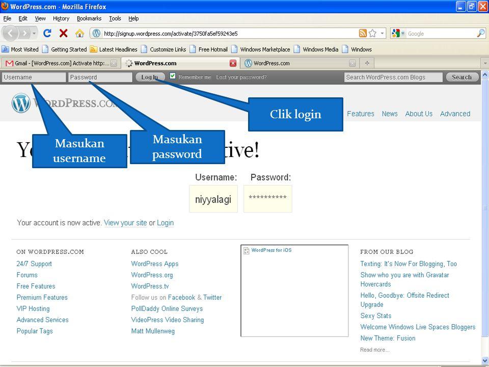 Masukan username Masukan password Clik login
