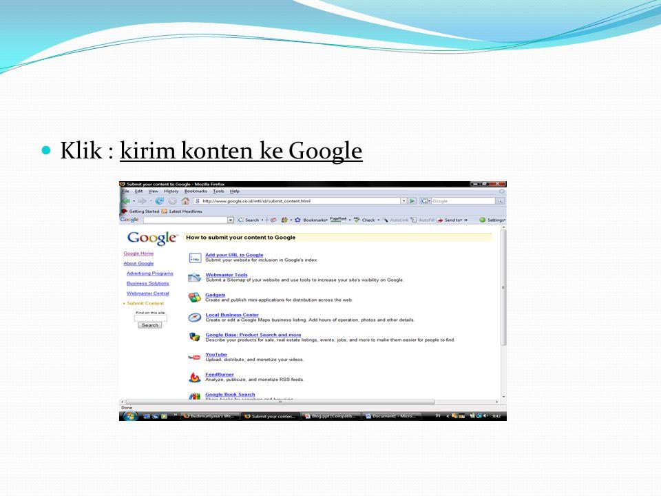  Klik : kirim konten ke Google