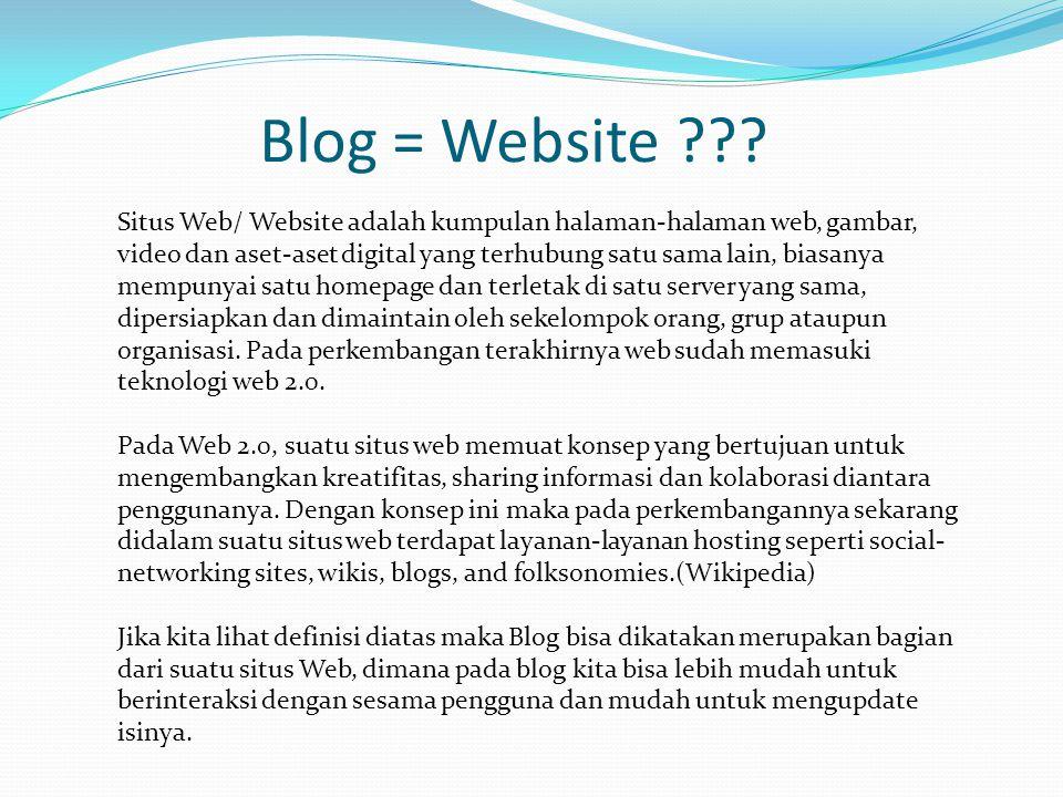 Situs Web/ Website adalah kumpulan halaman-halaman web, gambar, video dan aset-aset digital yang terhubung satu sama lain, biasanya mempunyai satu homepage dan terletak di satu server yang sama, dipersiapkan dan dimaintain oleh sekelompok orang, grup ataupun organisasi.