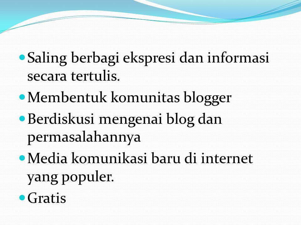 SSaling berbagi ekspresi dan informasi secara tertulis. MMembentuk komunitas blogger BBerdiskusi mengenai blog dan permasalahannya MMedia komu
