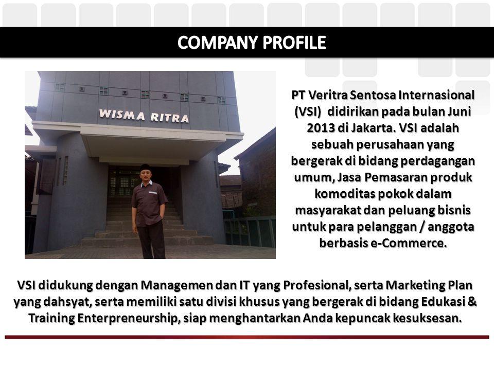 VSI didukung dengan Managemen dan IT yang Profesional, serta Marketing Plan yang dahsyat, serta memiliki satu divisi khusus yang bergerak di bidang Edukasi & Training Enterpreneurship, siap menghantarkan Anda kepuncak kesuksesan.