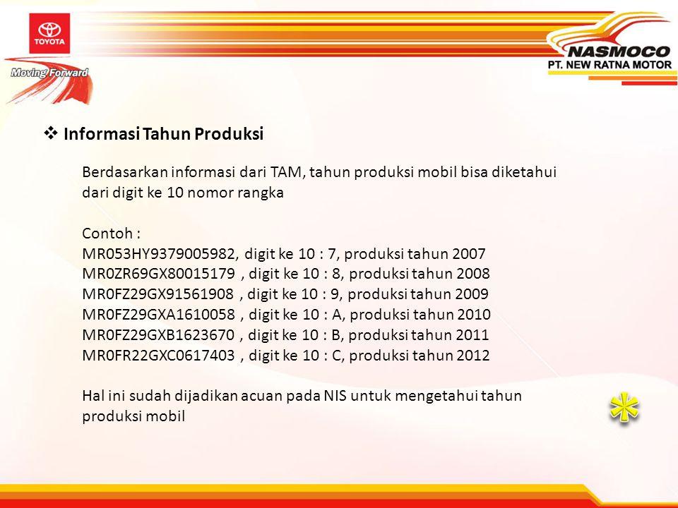  Informasi Tahun Produksi Berdasarkan informasi dari TAM, tahun produksi mobil bisa diketahui dari digit ke 10 nomor rangka Contoh : MR053HY937900598