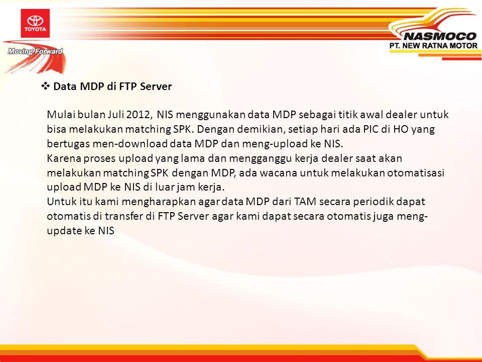  Data MDP di FTP Server Mulai bulan Juli 2012, NIS menggunakan data MDP sebagai titik awal dealer untuk bisa melakukan matching SPK. Dengan demikian,